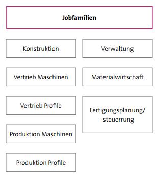 Abbildung 5: Jobfamilien bei der Schlicht und Einfach GmbH