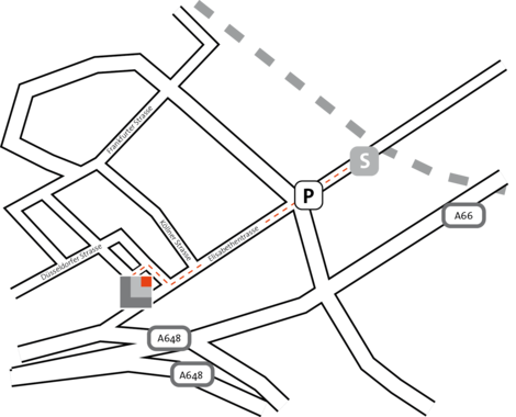 """Fußweg von der S-Bahnhaltestelle """"Eschborn Süd"""" zum RKW Kompetenzzentrum."""